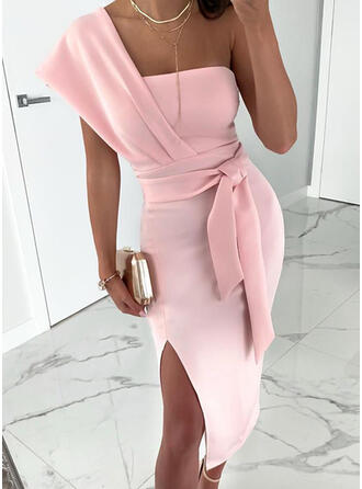 Solid Short Sleeves Sheath Sexy/Party Midi Dresses