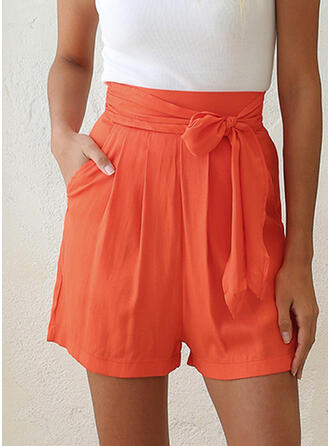 Solid Above Knee Boho Sexy Shorts