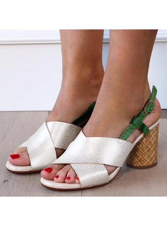 Women's PU Chunky Heel Sandals Peep Toe Heels With Hollow-out Splice Color shoes