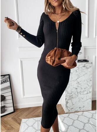 Solid Long Sleeves Sheath Sweater Little Black/Casual Midi Dresses