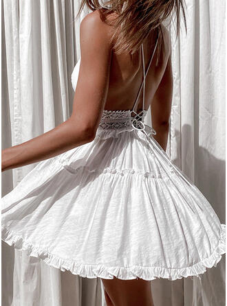 Lace/Solid/Backless Sleeveless A-line Above Knee Sexy/Vacation Skater Dresses