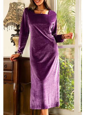Solid Velvet Long Sleeves Hourglass Elegant Maxi Dresses