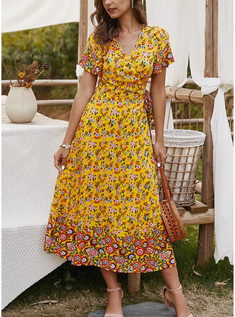 Print/Floral Short Sleeves A-line Skater Casual/Boho/Vacation Midi Dresses