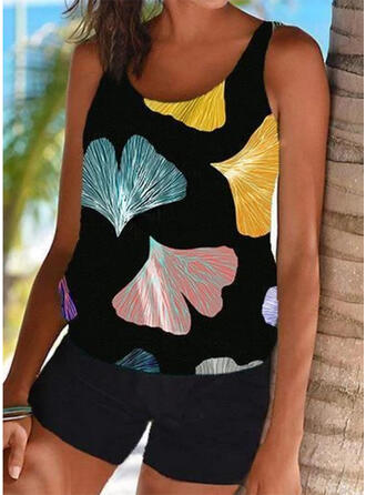 Leaves Print Strap U-Neck Sexy Vintage Boho Tankinis Swimsuits