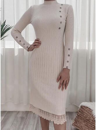 Solid Lace Stand Collar Casual Long Sweater Dress