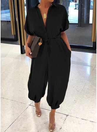 Solid Shirt collar Short Sleeves Casual Elegant Jumpsuit