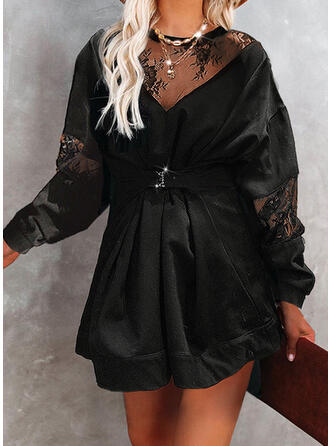 Solid Lace Long Sleeves Shift Above Knee Casual Dresses