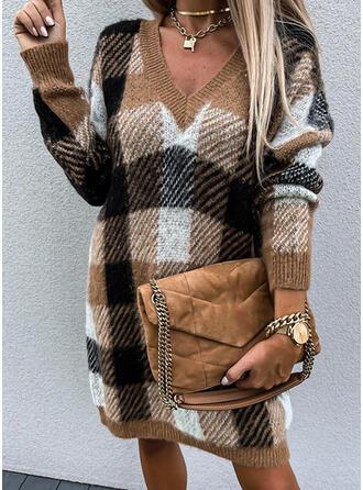 Plaid V-Neck Casual Sweater Dress