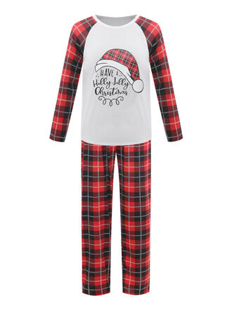 Polyester Long Sleeves Christmas Santa Pyjama Set