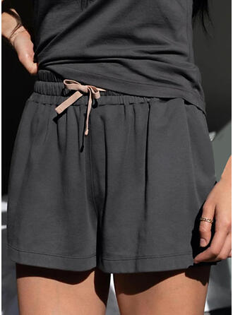 Solid Above Knee Casual Plus Size Drawstring Shorts