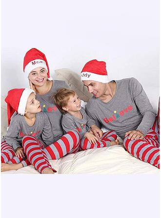 Santa Color-block Letter Striped Family Matching Christmas Pajamas