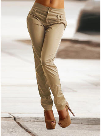 Solid Patchwork Shirred Plus Size Long Elegant Skinny Plain Pants