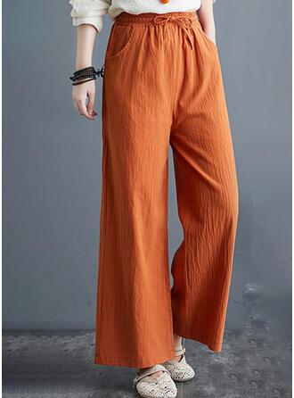 Solid Plus Size Drawstring Casual Elegant Plain Lounge Pants