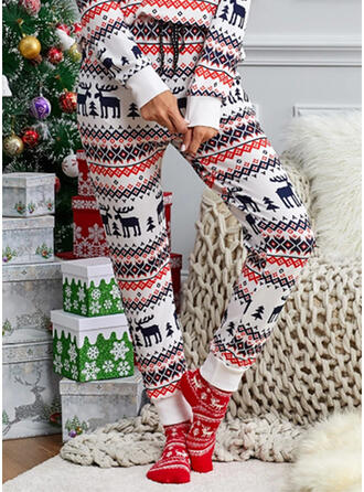 Christmas Print Deer Long Casual Party Plus Size Pants