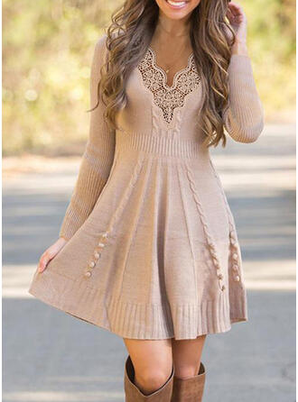 Lace/Solid Long Sleeves A-line Above Knee Casual Sweater Dresses