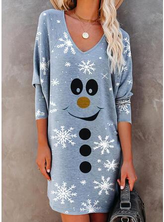 Print Long Sleeves Shift Above Knee Christmas/Casual T-shirt Dresses