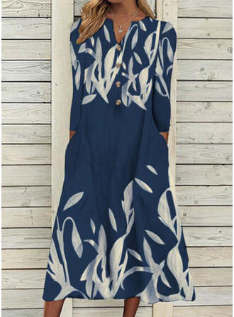 Print Long Sleeves Shift Tunic Casual Midi Dresses