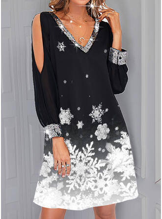 Print Chiffon Long Sleeves Slit Sleeve Shift Knee Length Elegant Dresses