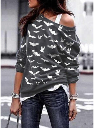 Animal Print Halloween One Shoulder Long Sleeves Sweatshirt