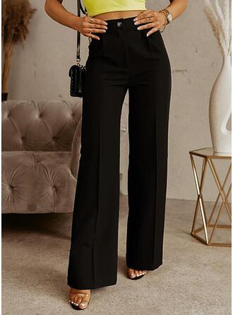 Solid Long Plus Size Button Lounge Pants
