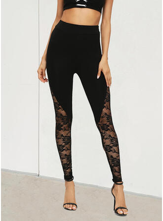 Solid Lace Long Casual Pants