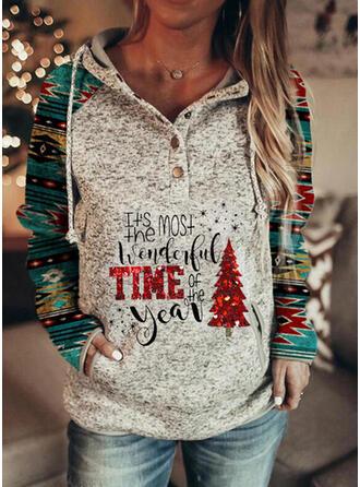 Print Sequins Pockets Letter Long Sleeves Christmas Sweatshirt