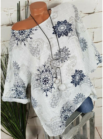 Floral Round Neck 1/2 Sleeves Casual Blouses