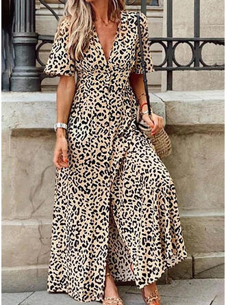 Leopard Short Sleeves A-line Casual/Vacation Maxi Dresses