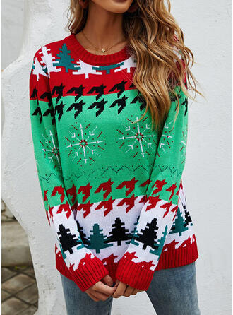 Christmas Print Round Neck Casual Sweaters