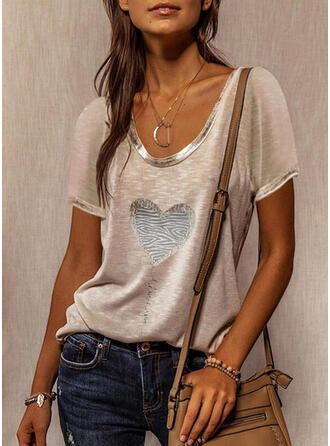 Figure Heart Print Round Neck Short Sleeves T-shirts