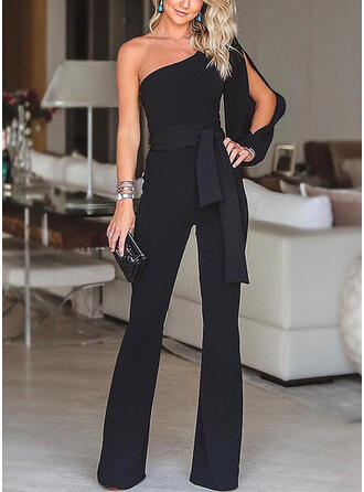 Solid One Shoulder Long Sleeves Elegant Party Jumpsuit