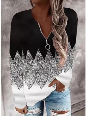 Geometric V-Neck Long Sleeves Sweatshirt