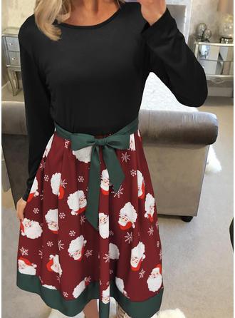 Print Long Sleeves A-line Knee Length Christmas/Casual Skater Dresses