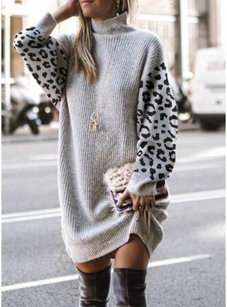 Color Block Leopard High Neck Casual Sweater Dress