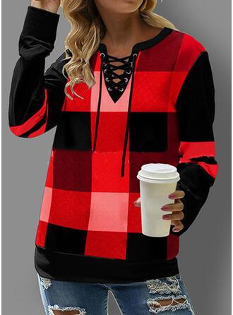 Plaid V-Neck Long Sleeves Sweatshirt