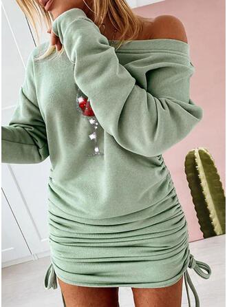 Sequins Long Sleeves Shift Above Knee Christmas/Casual Sweatshirt Dresses