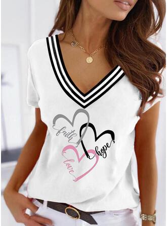 Heart Print Striped Letter V-Neck Short Sleeves T-shirts