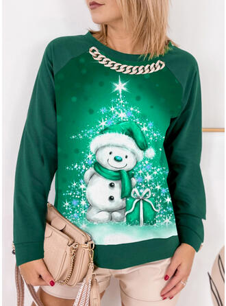 Christmas Star Cartoon Round Neck Long Sleeves Sweatshirt