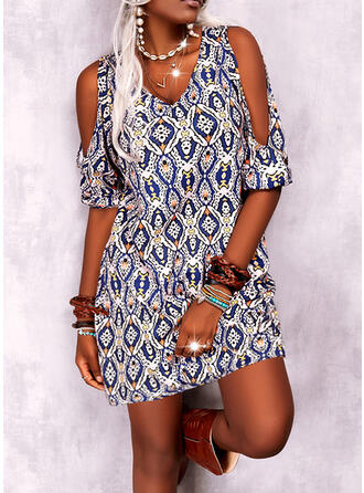 Print Short Sleeves Cold Shoulder Sleeve Shift Above Knee Casual Tunic Dresses