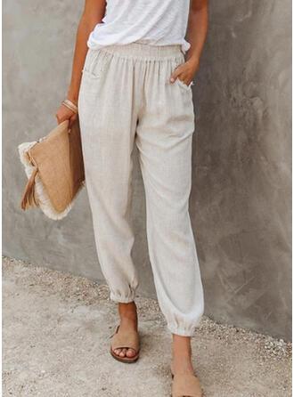 Solid Shirred Long Casual Plain Pants