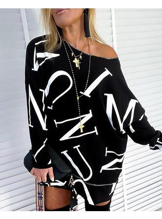 Print Figure One Shoulder Long Sleeves Sweatshirt