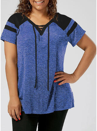 Color Block V-Neck Short Sleeves Casual Plus Size Blouses