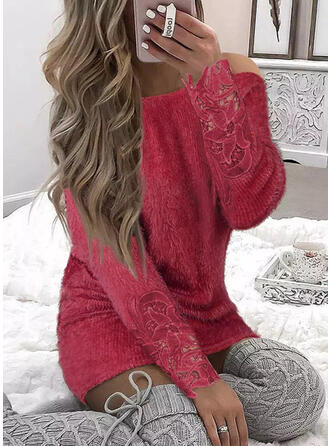 Solid Long Sleeves Cold Shoulder Sleeve Mini Casual Dresses