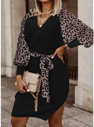 Leopard Knit Long Sleeves Raglan Sleeve Sheath Knee Length Casual Dresses