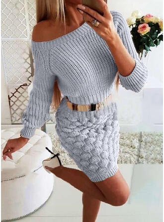 Solid Long Sleeves Bodycon Above Knee Casual/Elegant Sweater Dresses