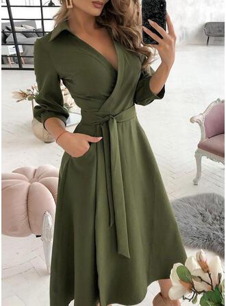 Solid Long Sleeves A-line Wrap/Skater Elegant Midi Dresses