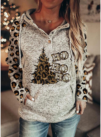Print Leopard Pockets Letter Long Sleeves Christmas Sweatshirt