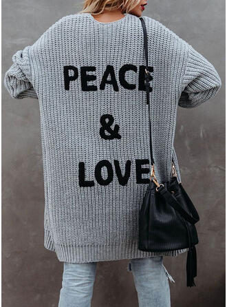 Print Letter Round Neck Casual Sweater Dress