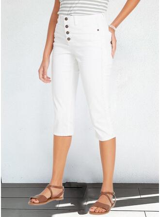 Solid Capris Plus Size Office/Business Button Pants