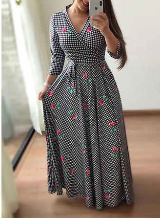 Print/Floral/Plaid Long Sleeves A-line Casual/Elegant Maxi Dresses